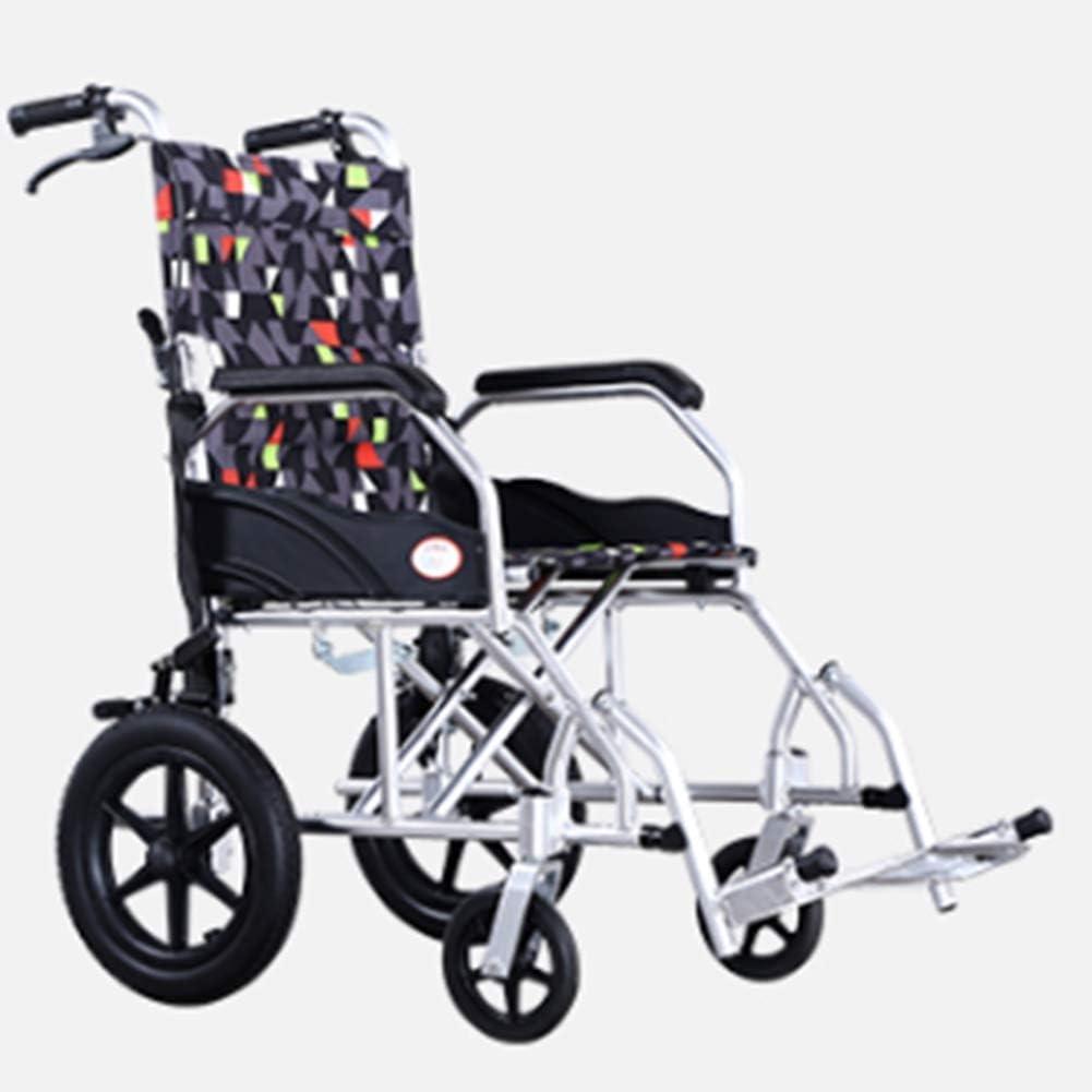 GBX@I Silla de ruedas de aleación de aluminio plegable ligera Conducir suministros médicos médicos para adultos, viajes en silla de ruedas para discapacitados Vagón portátil Cómodo