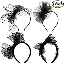 Coobey 4 Pieces Lace Bow Headband 80's Hair Band for 80s Party Dress Accessories