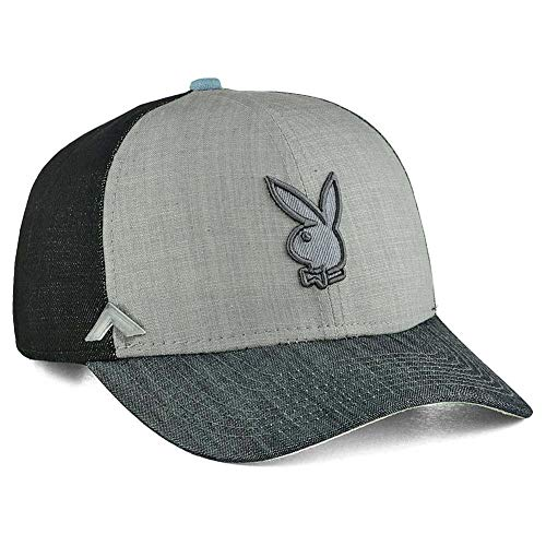 Already Design Co Playboy Bunny Logo Mixed Wash Denim Curved Visor Strapback Cap Hat