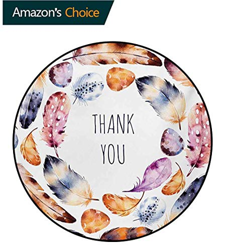 - RUGSMAT Tribal Modern Washable Round Bath Mat,Bird Hawk Colored Feathers with Hand Written Thank You Note in The Middle Print Non-Slip Bathroom Soft Floor Mat Home Decor,Round-51 Inch