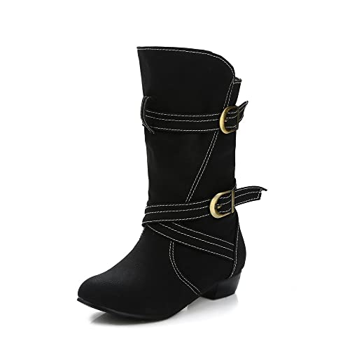 aa14227f8dba Inornever Women s Mid-Calf Boots Low Heel Casual Wide Calf Round Toe Slip  on Black