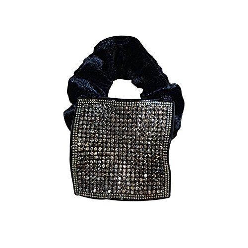 Twinkle Square Crystal Scrunchies Black