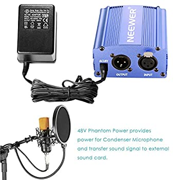 Neewer 1-channel 48v Phantom Power Supply With Adapter & Xlr Audio Cable For Any Condenser Microphone Music Recording Equipment (Blue) 6