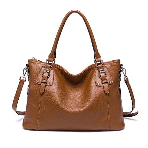 BOSTANTEN Women's Large Vintage Soft Leather Designer Handbags Tote Shoulder Bags Brown