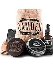 Camden Baardverzorgingsset ● 100% Natuurlijk Verzorgingsset ● Inclusief baardolie Baardwas Borstel & e-Boek ● Cadeauset voor Mannen