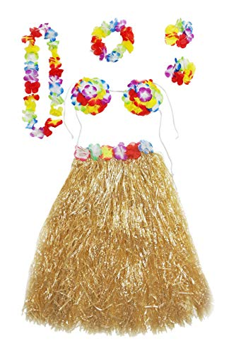 Hula Dancer Costume Set for Adult Women Hawaiian Grass Skirt Lei 6 pcs (Natural) -