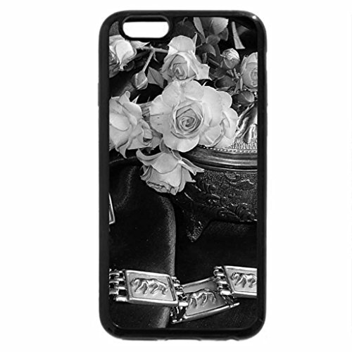 iPhone 6S Plus Case, iPhone 6 Plus Case (Black & White) - Pink roses and silver box