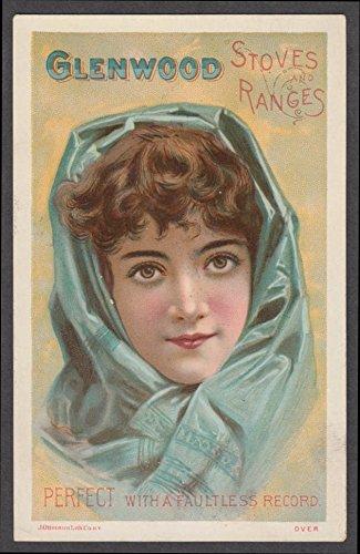 Glenwood Parlor Stoves Ranges & Furnaces trade card 1880s girl blue scarf - Glenwood Range