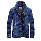 FeN Men's Cotton Denim Jacket - Solid Color, Print Lapel Coats Autumn And Winter Casual Loose Outerwear Comfortable Business Tops (Color : 2, Size : XXXL)