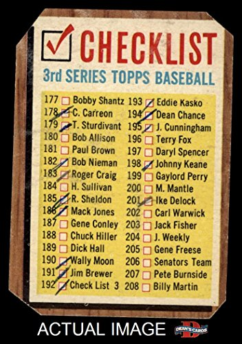 1962 Topps # 192 xCOM Checklist 3 (Baseball Card) (No Comma, says #192 Check List 3) Dean's Cards AUTHENTIC