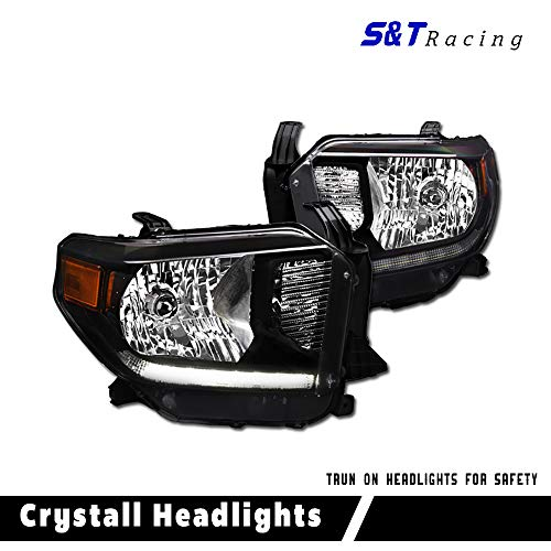 - S & T RACING INC 14-18 for Toyota Tundra Level Adjuster Black Housing Led Headlights Crystal Signal Lamps Amber