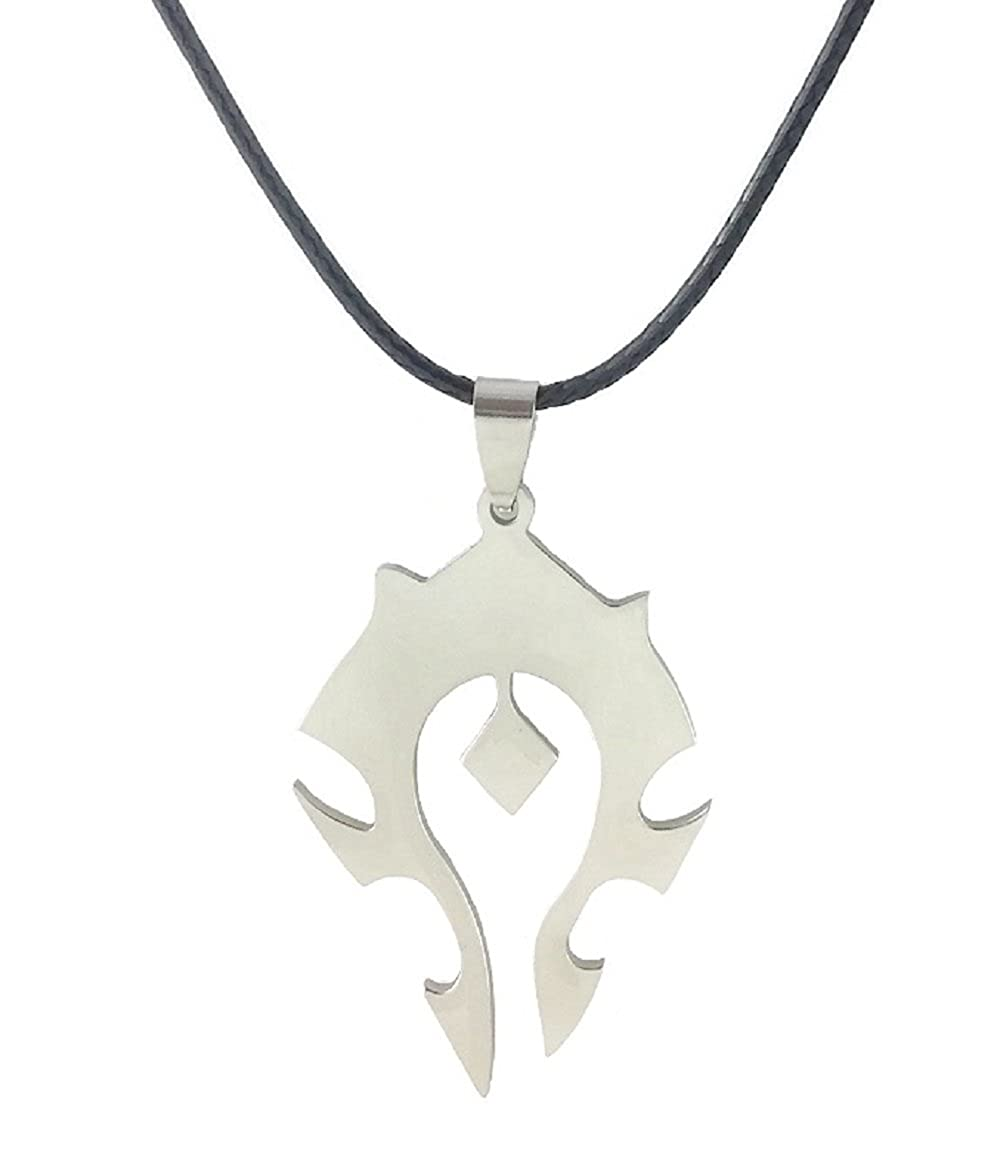 Dastan Stainless Steel Necklace WOW World of Warcraft Symbol Horde Logo Pendant on Leather Cord Fine jewelry tribe Without Chain
