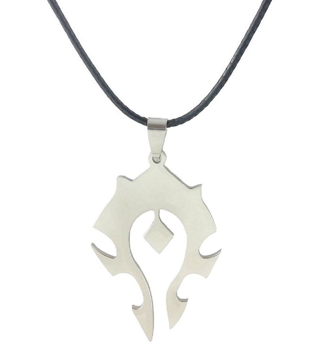Dastan Stainless Steel Necklace WOW World of Warcraft Symbol Horde Logo Pendant on Beaded Chain by Dastan (Image #1)