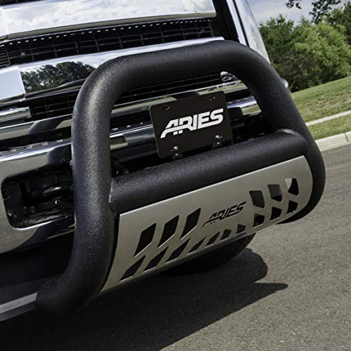 (ARIES AL45-5006 Big Horn 4-Inch Black Aluminum Bull Bar Select Dodge, Ram 1500, 2500, 3500 )
