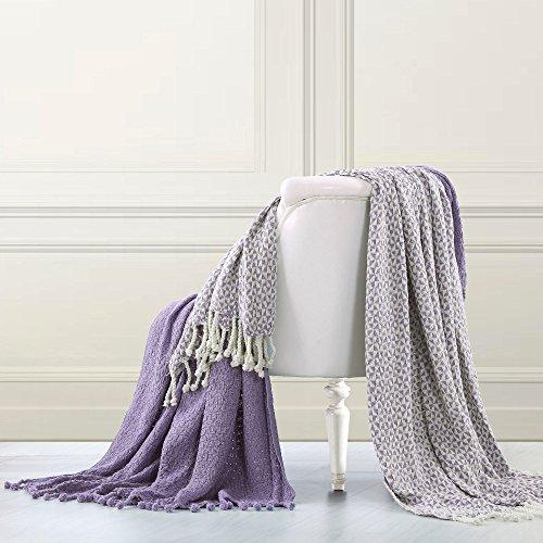 PH 2 Piece 50 x 60 Inches Lavender Throw Blankets, French Country, Modern, Shabby Chic Style, Tasseled Ends, Solid, Reversible & Geometric Picasso Design, 100% Woven Cotton, Machine Washable