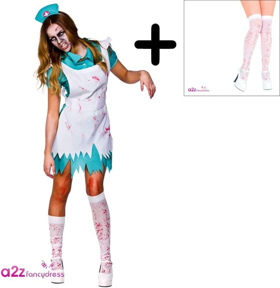 Halloween Bloody Blood Stained Stocking Fancy Dress Zombie Nurse Costume White
