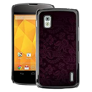 A-type Arte & diseño plástico duro Fundas Cover Cubre Hard Case Cover para LG Nexus 4 E960 (Dark Black Purple Floral Pattern)