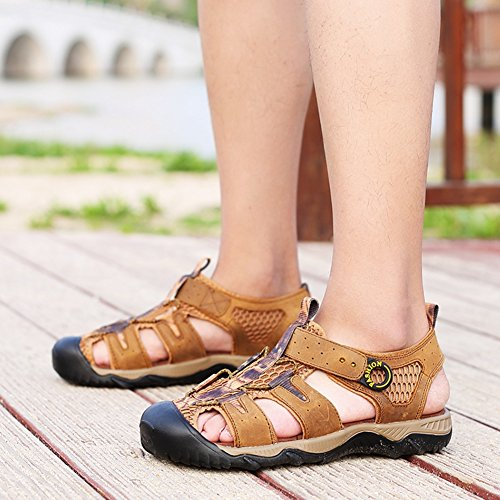 Hiking Sandal,Nasonberg Cowhide Leather Men Beach Athletic Summer Sandal Outdoor Walking Sport Thekking Sandal Lightbrown