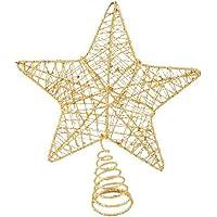 Yılbaşı Ağaç Tepe Süsü Altın Simli Yıldız 18 x 22 cm