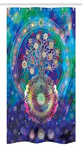 Ambesonne Mandala Stall Shower Curtain, Tree of Life Floral Style Mandala Spiritual Artwork Meditation Peace Spa Design, Fabric Bathroom Decor Set with Hooks, 36 W x 72 L inches, Blue Purple by Ambesonne