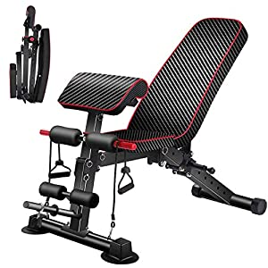 Adjustable Weight Bench with Backrest,Strength Training Bench for Full Body Workout Foldable Incline Decline Exercise Utility Bench for Home Gym