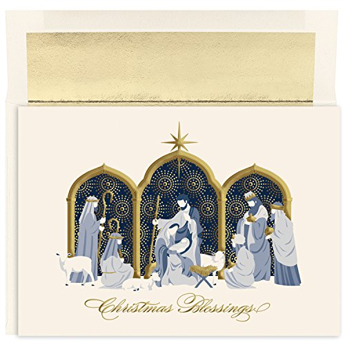 - Masterpiece Studios Holiday Collection 16 Cards / 16 Foil Lined Envelopes, Manger Blessings