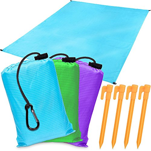 Ziggy Mat - Outdoor Blanket (55x79) - Beach Blanket with Four Anchor Pockets + 4 pegs - Lightweight, Portable, Soft, Fast Drying and Sand Proof - Made with Durable Nylon (Ocean Blue)