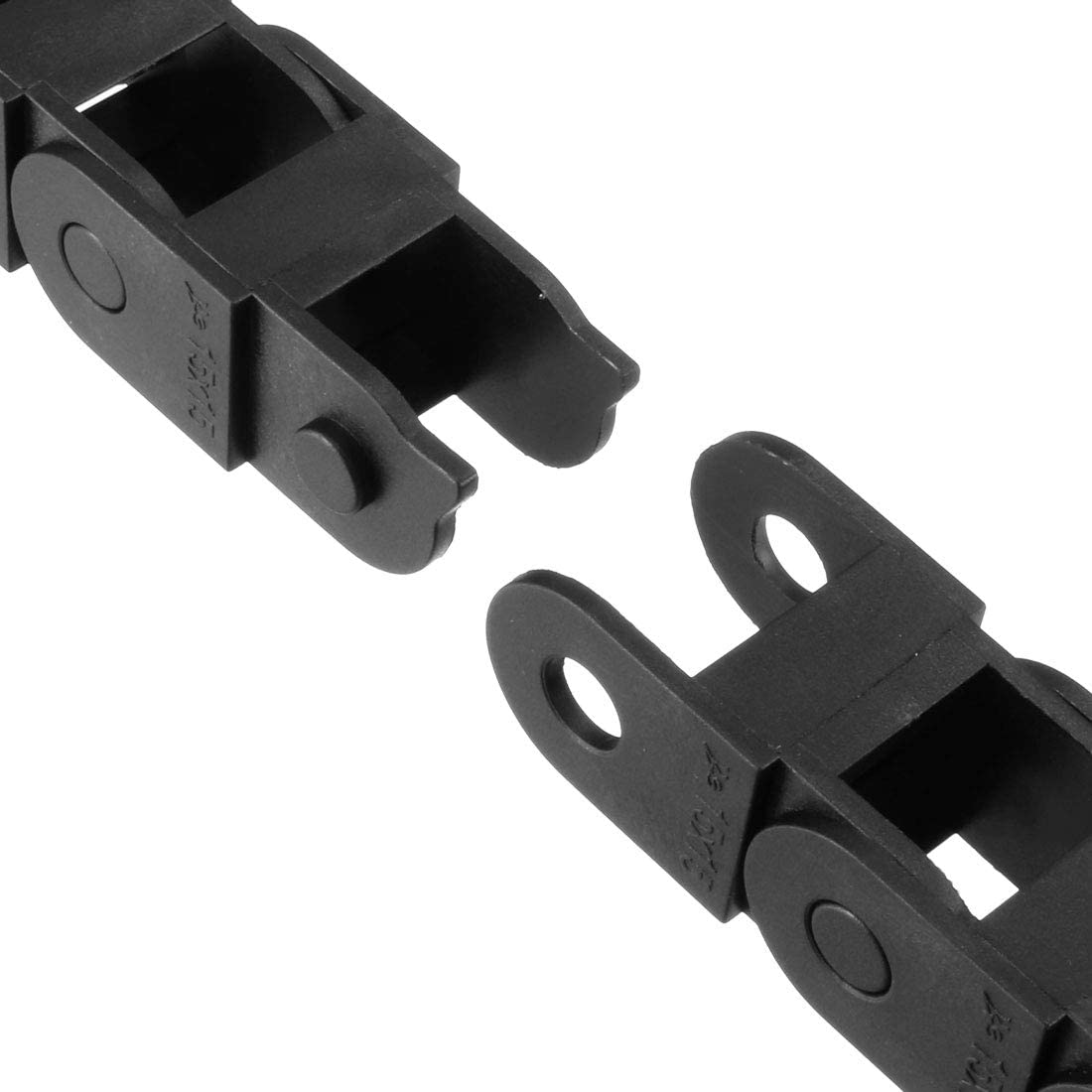 uxcell Drag Chain Cable Carrier Open Type with End Connectors R18 10X11mm 1 Meter Plastic for Electrical CNC Router Machines Black