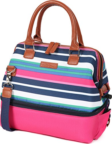 Preppy School Supplies (Arctic Zone 44-66079-00-08 Thermal Insulated Lunch Tote, 2 Compartments, Preppy Stripes -)