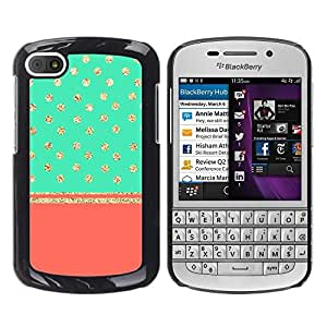 FlareStar Colour Printing Gold Polka Dot Glitter Stars Teal Peach cáscara Funda Case Caso de plástico para BlackBerry Q10