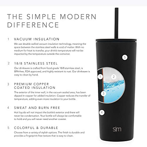 Simple Modern Classic Insulated Tumbler with Straw and Flip Lid Stainless Steel Water Bottle Iced Coffee Travel Mug Cup…