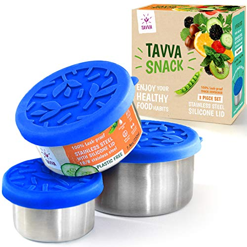 (TAVVA Snack Containers - 3 Stainless Steel Food Containers with Food-Grade Silicone Lids - Portion Control Containers - Leakproof and Reusable - Also Suitable as Baby Food Jars and Spice Containers)