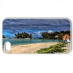 Beach in Bora Bora - Case Cover for iPhone 4 and 4s (Beaches Series, Watercolor style, White)