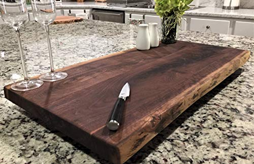 - Black Walnut Large, Gorgeous, Full-of-Character, Forest-to-Table Solid Double Live Edge Wood Charcuterie/Appetizer/Dessert/Grazing/Serving Board. 100% USA Handcrafted. 27 x 13.5 x 1.25