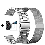 Gear S3 Frontier / Classic Bands - 22mm Metal Band+Milanese Loop Mesh Bracelet Strap for Gear S3 Frontier SM-R770 / Classic SM-R760+Tempered Glass (Silver Metal Band + Mesh Band)