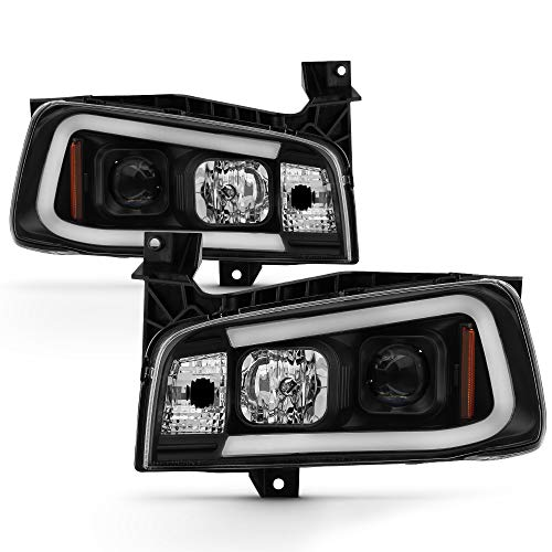 (For 2006-10 Dodge Charger LED Daytime Running Lamp Bar Projector Headlights Black Housing Clear Lens Halogen Model Only )