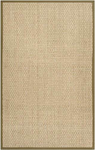 Safavieh Natural Fiber Collection NF114G Basketweave Natural and  Olive Seagrass Area Rug (2' x 3')