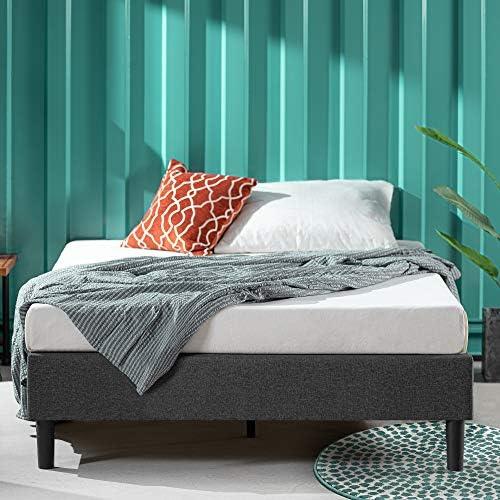 ZINUS Curtis Upholstered Platform Bed Frame / Mattress Foundation / Wood Slat Support / No Box Spring Needed / Easy Assembly, Grey, Full 51ILiKJN7AL