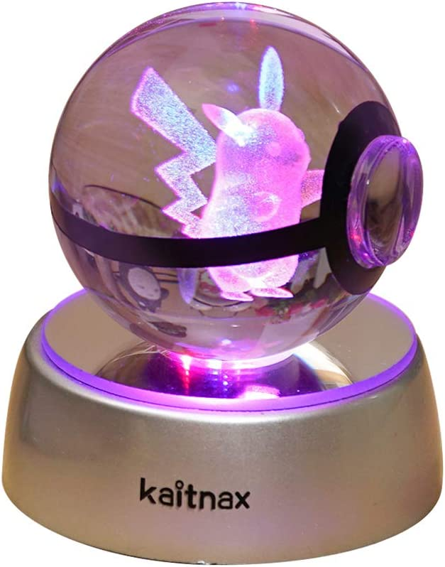 3D Crystal Ball Lamp Laser Engraving Image in The Ball LED Color Change Base (Pikachu)