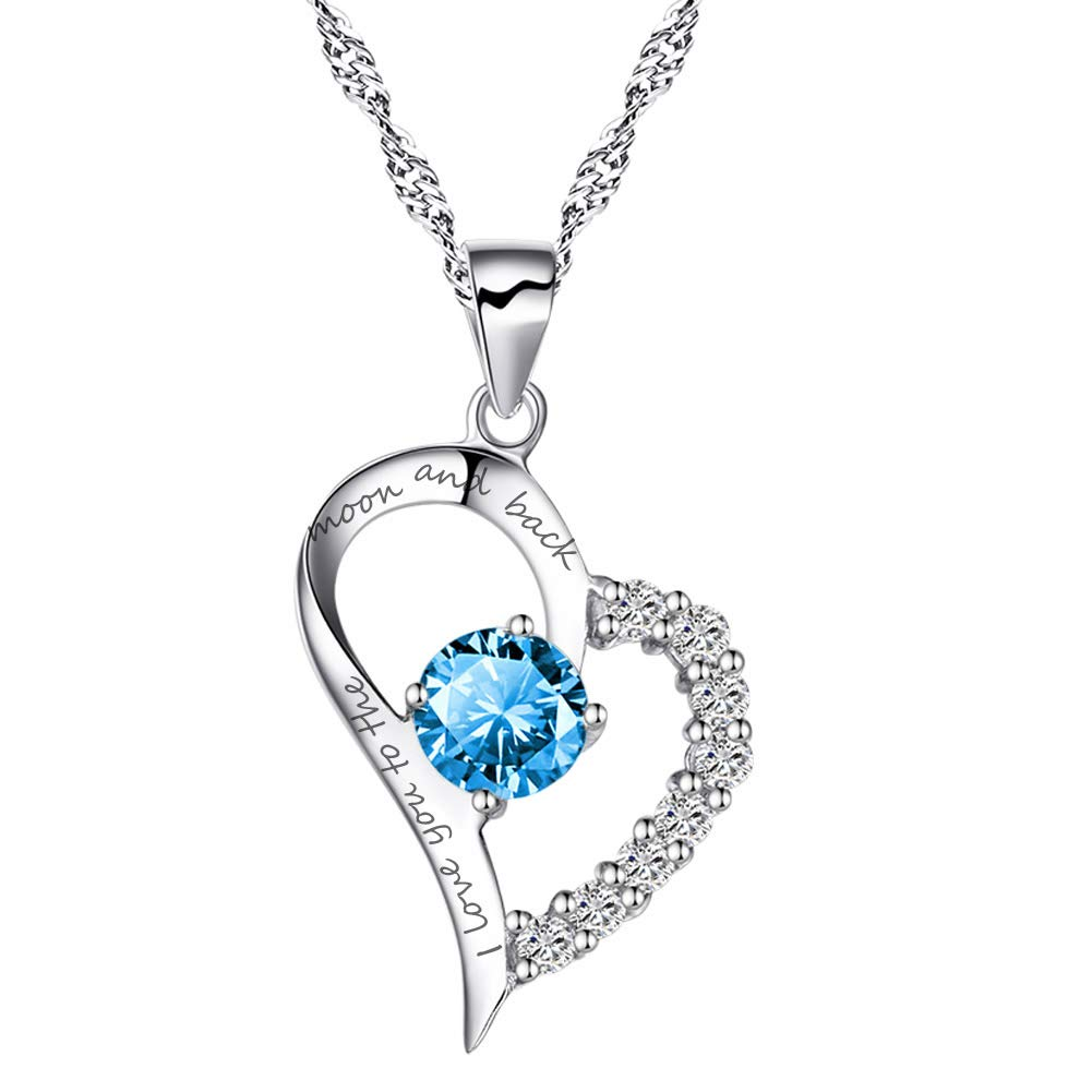 Chaomingzhen Sterling Silver Heart Pendant Enhancer Pendant Crystal I Love You to The Moon and Back