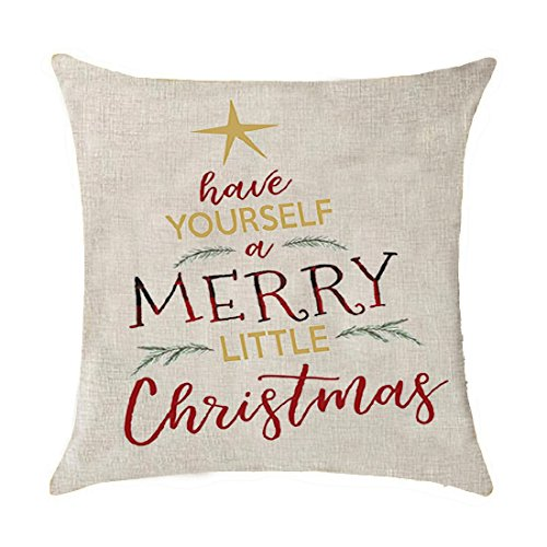 Have yourself a merry little Christmas Cotton Linen Throw Pillow covers Case Cushion Cover Sofa Decorative Square 18 x 18 inch (18)