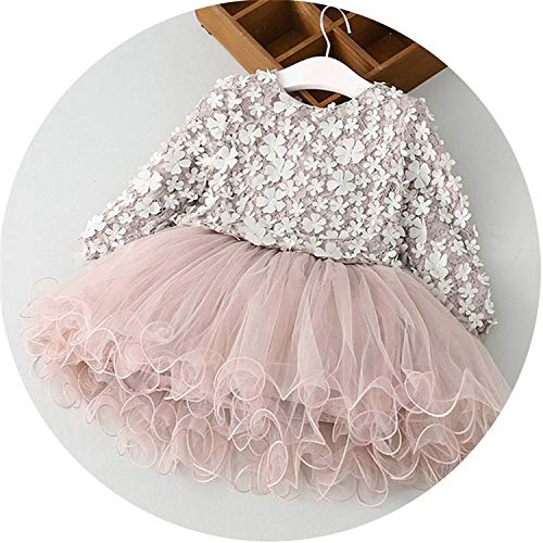 Petals Designs Girl Dress Children Party Costume Kids Formal Events Vestidos Infant Flower Dress Fluffy Wedding Gown 3 5 7T,as photo13,6 ()