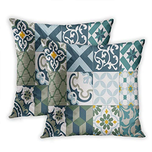Stamford Floor - Lichtion Set of 2 Throw Pillow Covers Print Vintage Details Ceramic Floornament Collection Patchwork Colorful Tin Geometric Decorative Soft Bedroom Sofa Pillowcase Cushion Couch 20 x 20 Inch