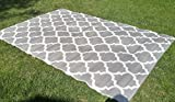 Santa Barbara Collection 100% Recycled Plastic Outdoor Reversable Area Rug Rugs White Silver Trellis san1001silver 3'11 x 5'3 - Made in USA