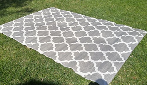 Santa Barbara Collection 100% Recycled Plastic Outdoor Reversable Area Rug Rugs White Silver Trellis san1001silver 5'11 x 9'3 - Made in -