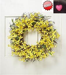 Spring Floral Front Door Forsythia Flower Wreath 22\