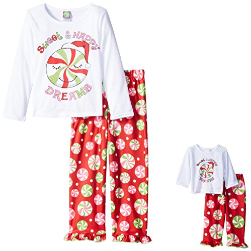 Dollie & Me Big Girls' Candy Sleepwear Set, White/Red, 10