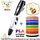 Add Both 3D Pen and 12 Colors 20 Feet PLA Filament to Cart - 2018 Tipeye Newest SmartGear 06A 3D Doodler pen Kits 3D Printing Pen with LCD Display for Kids, Doodling, Artist, DIY, Drawing etc