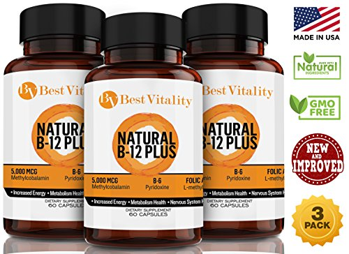 Best Vitality - Vegan Safe All Natural Vitamin B Complex B12 Methylcobalamin, B6 & Folic Acid - 60 Vegetarian Capsules. Three Pack Bundle (Best Value!!!) - Made In USA -