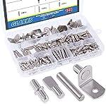 Glarks 120-Pieces 4 Styles Shelf Bracket Pegs Cabinet Furniture Shelf Pins Support Nickel Plated - Silver